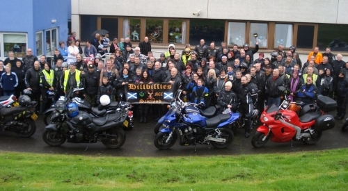 The 2011 Hillbillies Easter Egg Run arrives at Crosshouse Hospital Children's Unit.